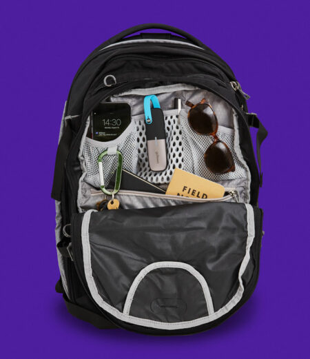 Backpack with goTenna Mesh and EDC items